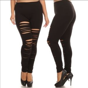 Plus size high waist leggings shredded distressed